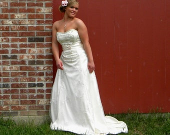 "Strapless Wedding Gown ""Kara"", Sweetheart Satin Wedding Dress with Train, Hand Beading CUSTOM MADE long wedding dress"
