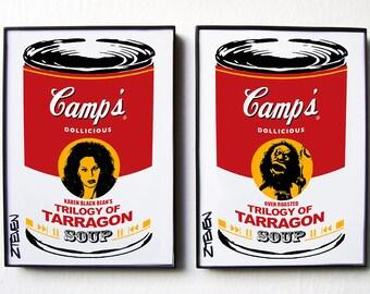 Karen Black TRILOGY OF TERROR Horror Pop Art Soup duo, framed art by Zteven