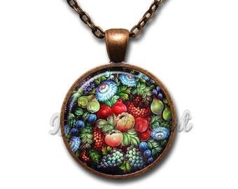 Zhostovo painting Flower Fruit Glass Dome Pendant or with Chain Link Necklace NT162