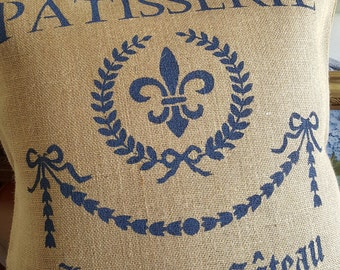 French Country ,Burlap Pillow Cover, French Patisserie Pillow ,   Blue  Ruby | Pillow Cover