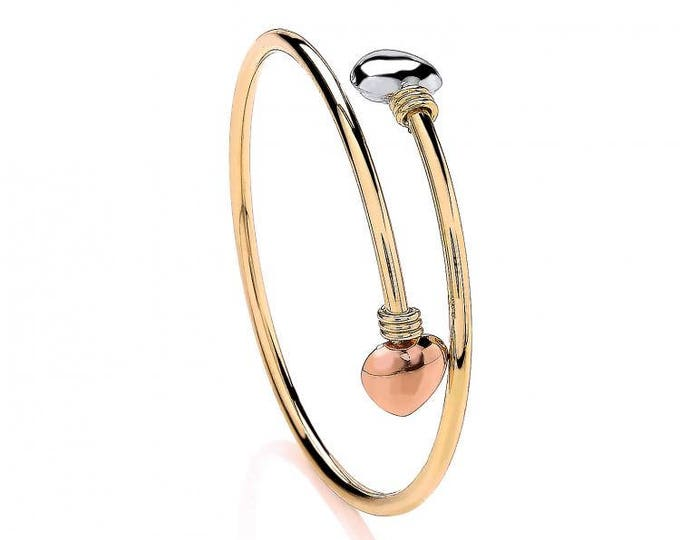 9ct Yellow Rose & White Gold 4cm Diameter Crossover Hearts Baby Bangle