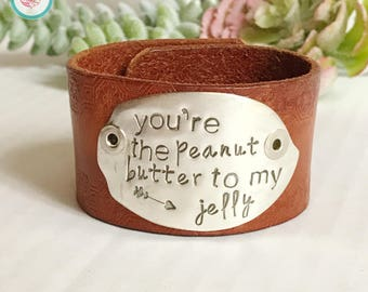 Peanut Butter To My Jelly Leather Chick Cuff