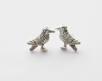 Nevermore Earrings, Raven Earrings, Raven Studs, Raven Stud Earrings, Gothic Earrings, Raven Jewelry, Silver Bird Earrings, Silver Bird Stud