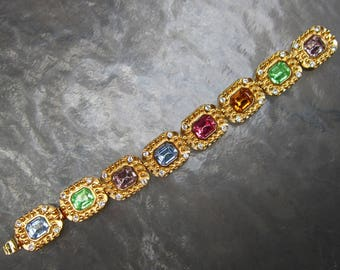 Signed KJL link bracelet with multi colored rhinestones - New Old Stock