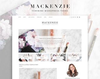 "Premade Feminine Wordpress Theme ""MacKenzie"" - Responsive E-Commerce Self-Hosted Wordpress Blog Theme"