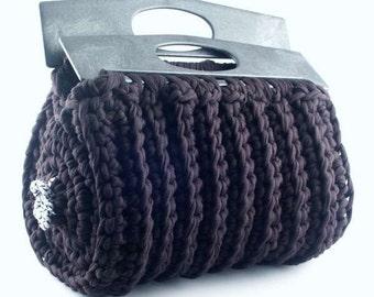 """Black Unique  Zpagetti Textile Yarn Crochet Handbag  - Model """"Roma"""""""