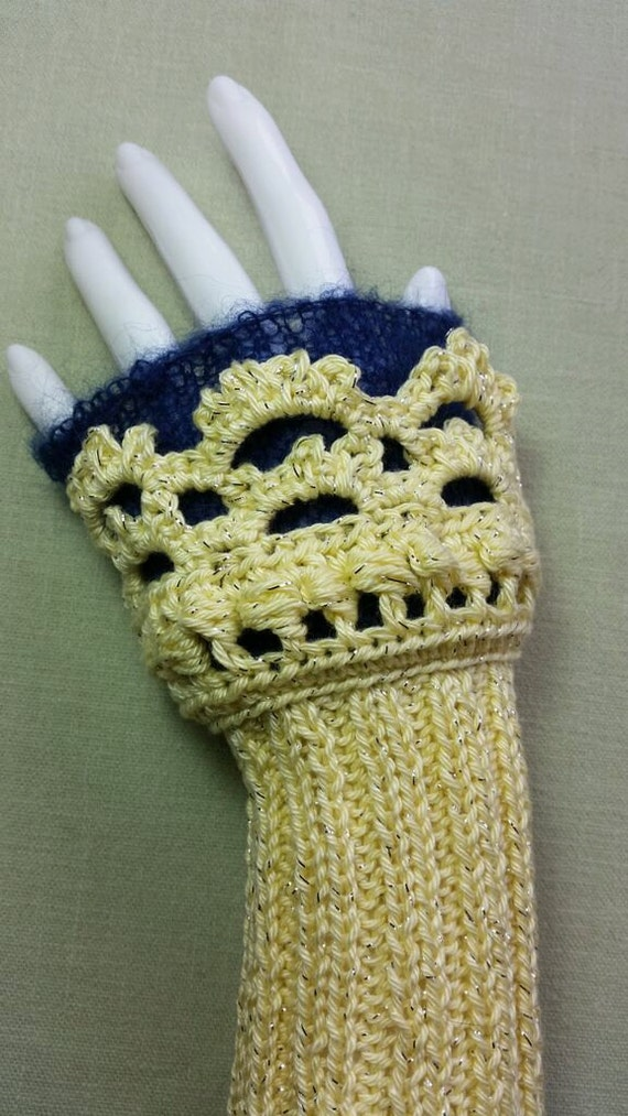 L245.  Hand knitted wristlets with crochet finish. Fingerless gloves