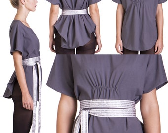 Lorina Grey T shirt Tunic / Oversize Tunic Tee with Belt / Graphite Gray Party Top