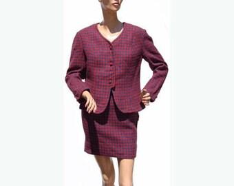 Vintage 1960s Suit Red & Blue Houndstooth Tweed Wool -  Mini Skirt - Ladies - M
