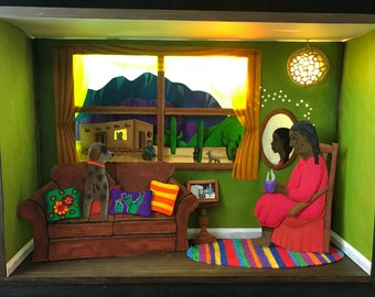 ON HOLD Abuela's Childhood Memories Paper Art Diorama Light Up Shadow Box