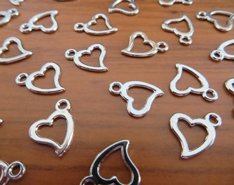 100 Open Heart Charms Very Small Silver Tone Valentine Love Wedding Anniversary Mini Embellishments  13x11mm Please Read Details