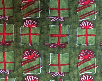 Green Christmas Fabric By The Yard, Red & Green Gift Fabric, Green Holiday Fabric, Olive Green Craft Fabric, OOP cotton quilt fabric