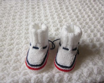 Baby blue white red knitted Handmade wool baby booties