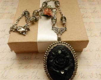 Cameo Necklace, Swarovski Crystal Embellished Rose Silver Pendant, Gothic Bride Black Wedding Jewelry, Mothers Day Gift for Grandma Aunt Sis