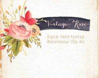 Aquarell handgemalt ClipArt - Vintage Rose