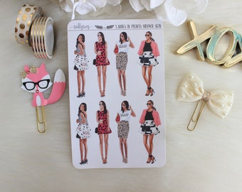 Mini Ladies in Prints, Brown Skin, Planner Stickers