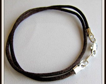 12 to 24 inch Brown Necklace Cord, Choker Necklace Cord, Brown Satin Cord, Brown Pendant Cord, Silver Lobster Clasp, Custom Cord, 2mm Cord