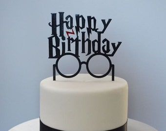 Happy Birthday Glasses with Scar Cake Topper