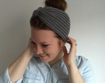 Women's Knit Accessories, Turban Headband, Ear Warmer Headband, Knitted Head Band, Silver Grey || REBEKKA TURBAN