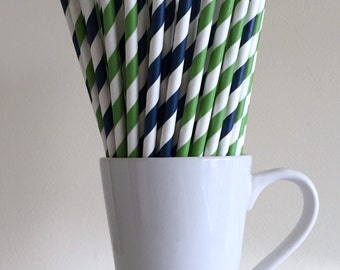 Green and Navy Paper Straws Navy Blue and Kelly Green Striped Party Supplies Party Decor Bar Cart Cake Pop Sticks Graduation