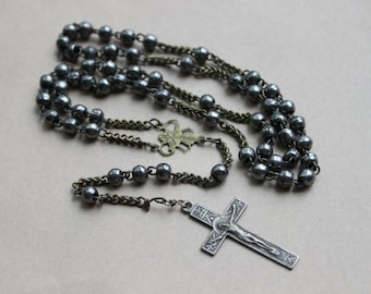 Antique 1800s French Steel Rosary with Filigree Centerpiece