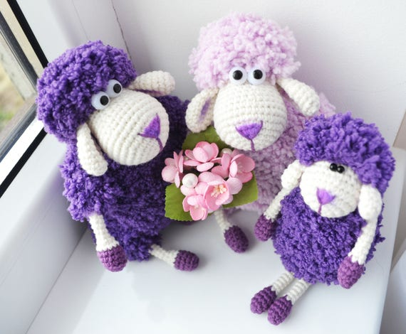 Ultra Violet Stuffed Sheep Family First Mother S Day Gift