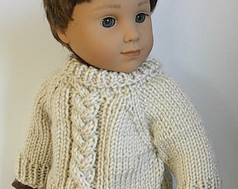 "18 Inch Boy Doll Clothes Cable Braid Knit Sweater in Natural Buttons in Back Handmade to fit the AG Boy Doll Logan and Similar 18"" Dolls"
