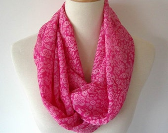 Silky Infinity Scarf Hot Pink Light Pink Flower Spring Design Fabric