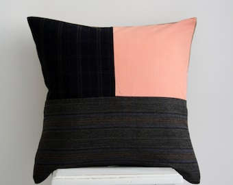 Patterned Pillow Cover / Salmon Pillow Cover / Checkered Pattern / Beige Wool Pillow Cover / Patchwork Pillow Cover