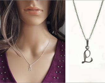 Letter L Necklace, Short Necklace, Curb Chain, Small Alphabet Pendant, L Letter Silver Initial L Charm Necklace, Personalized Jewelry
