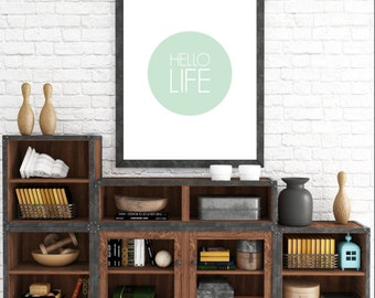 Hello Life. 8x10 Mint Green, Typographic, Home Decor Print. Instant Digital Download. Printable Wall Art - ADOPTION FUNDRAISER