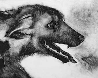 Monotype voleur réticents de chien lunatique art noir et blanc originale