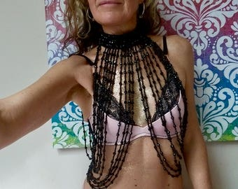 Hand Beaded Top with beaded choker  /  - 3 colours - Fairylove