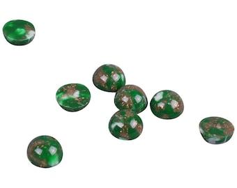 Marble Green Plastic Round Vintage Stones - 9mm (PT9GR)