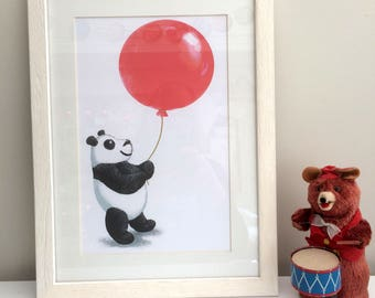 Panda with Balloon Printable Nursery Picture and Card
