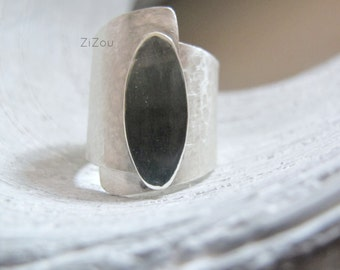 Wide band silver ring Mirror, made to order, Modern , contemporary, simple, gift for her
