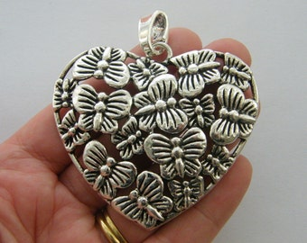 1  Butterfly heart pendant antique silver tone BFM9