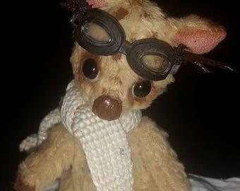 "OOAK Needle felt half Bear / half Mouse Aviator Pilot - 4"" Inches - Free Shipping!"