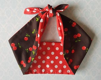 cherry polka dot rose red 50s style bandana, rockabilly pin up psychobilly tattoo hairband headband