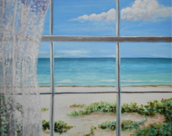 Window View of the Beach Original Oil Painting stretched canvasTop selling artist