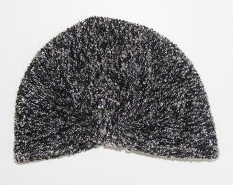 Turban hat in Heather black and white curly mesh, for small and large
