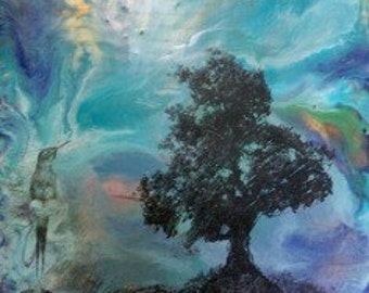 ORIGINAL ENCAUSTIC- Hummingbird Hill- by artist Caterina Martinico