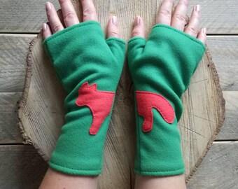 Green fingerless gloves with a red fox for woman made from soft fleece - Handmade , green fleece , fox , red