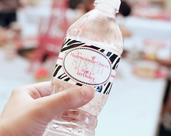 Printable Water Bottle Labels - Summer In Paris Party Collection