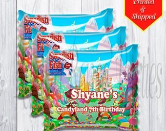 Candyland Mini Sweedish Fish Bag Wrappers - Sweedish Fish - Birthday Party -Treats -Birthday - Personalized - Digital - Printable - Printed