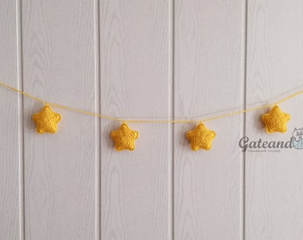 Garland star crochet. Baby room garland. Baby decoration. Christmas decoration.