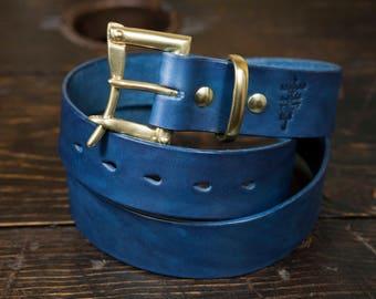 "1.5"" Indigo Leather Quick Release Belt"