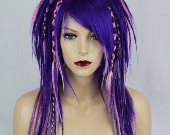 Purple & Pink Full Synthetic Dread Wig.