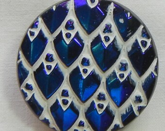 Dragon Scale Czech Glass Button
