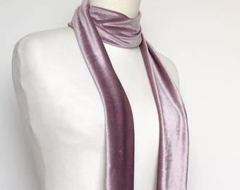 Purple Lavender Velvet Scarf, Skinny Scarf Velvet, Scarf Headband,  Women's Skinny Scarf, Necktie, Neck Scarf, Headband, Turban